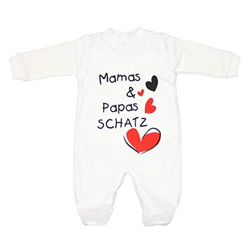 TupTam Unisex Baby Strampler Set Spruch Mamas & Papas Schatz, Farbe: Weiß - Mamas Papas Schatz, Größe: 62