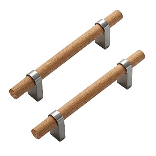 2 piezas Manijas de arco Tiradores de madera Haya base de aleación de zinc maciza Perillas de gabinete Bisagras de cajón Perilla de Armario,caja de zapatos,guardarropas (Hole distance 96mm)
