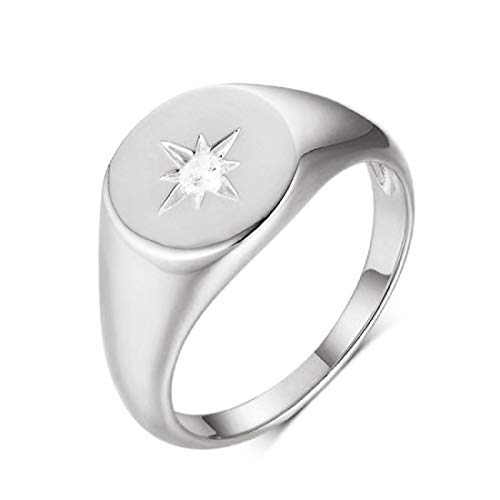 FeatherWish 925 Sterling Silver Ring Retro Vintage Style Signet Star Statement Rings With Cubic Zirconia Women Size L N P R (N)