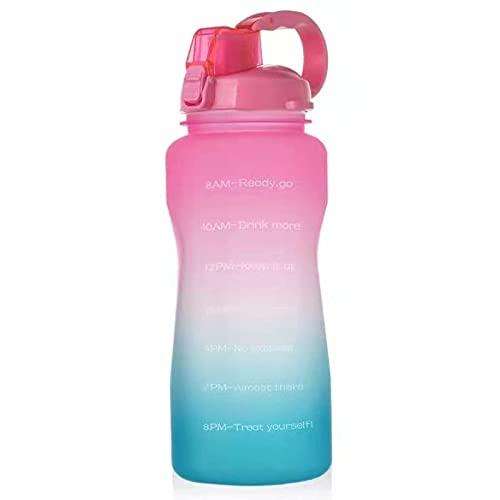Botella de Agua Motivacional Grande de Medio galón / 64 oz con Marcador de Tiempo/colador extraíble, Jarra de Agua a Prueba de Fugas sin BPA para recordarle Que Bebe más Agua, negro-2L