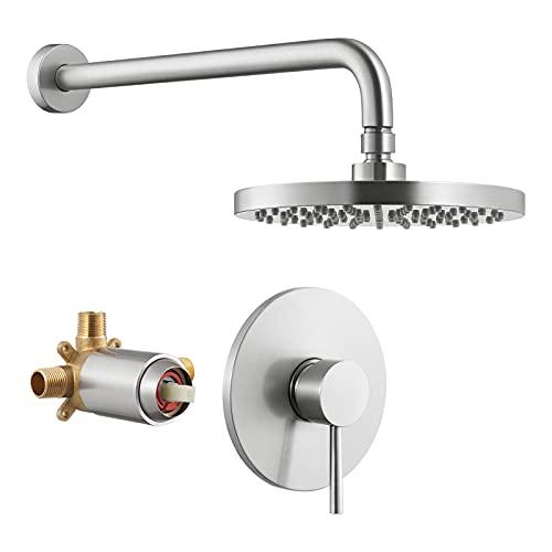 KES Rain Shower Head Shower Faucets Sets Complete Shower Valve and Trim Kit Wall Mount Brushed Nickel Pressure Balance Shower System, XB6202-BN