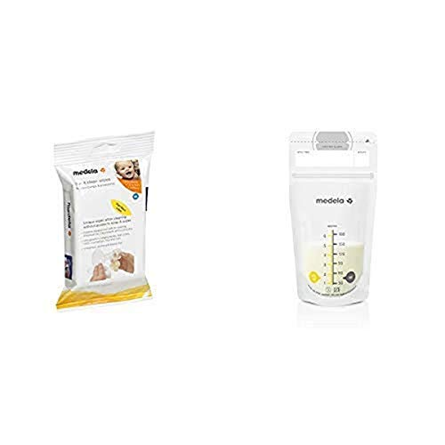 Medela Quick Clean Breastpump & Accessory Wipes and 100 Count Breast Milk Storage Bags, Breast Pump Accessories to Help Moms Begin and Continue Breastfeeding