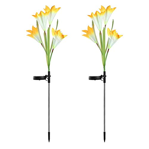 Solar Lily Flower Multifunctionele 2st LED Tuin Kunstbloem Decoratie Gazon Licht Woondecoratie Solar Garden Light (2st)