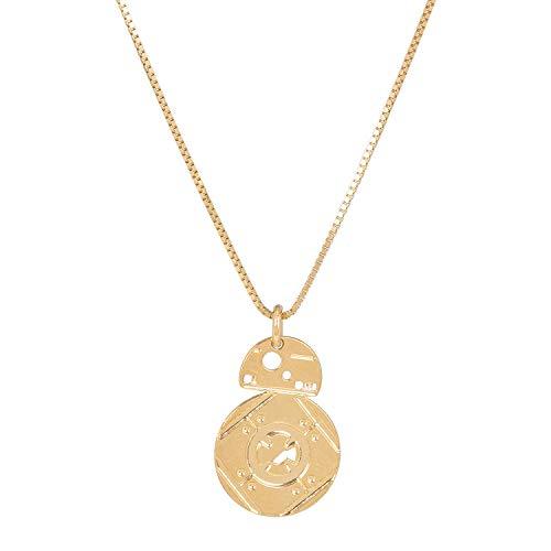 Malaika Raiss - Collar para mujer, oro de 24 quilates, 45 cm, diseño de Star Wars BB-8