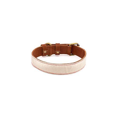 Makasih Dog Collar de piel para perro – Collar de perro de piel natural marrón con lienzo blanco y costuras de colores – Diferentes tamaños, anchuras (mediana, punto rojo)