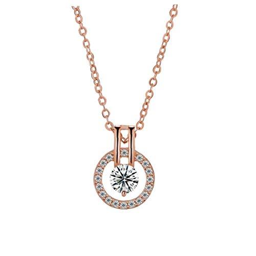 Collar de Cristal Brillante Colgante, Collar del suéter del Estilo de Halo Colgante hipoalergénico clavícula Cadena de decoración de la joyería Collar de Plata