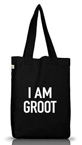 Shirtstreet24, I Am Groot, Serien Nerd Jutebeutel Stoff Tasche Earth Positive (ONE SIZE), Größe: onesize,Black