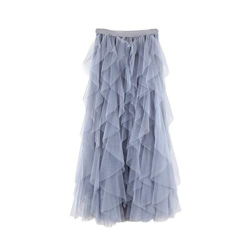 TUDUZ Faldas Mujer Largas Verano Casual para Cómoda De Tul De Cintura Alta Falda Plisada del Tutú De Midi (Gris, Free Size)