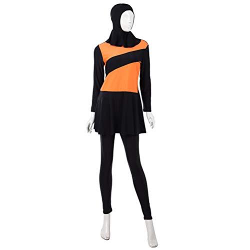 Comfortabel Dames Badpak Traditionele Badmode Conservatieve Zwemkleding voor Dames (Maat L, Oranje en Zwart)