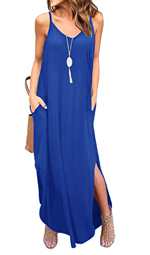 GRECERELLE Women's Summer Casual Plain Loose Beach Cover Up Long Maxi Cami Dress with Pockets Royal Blue-X-Large