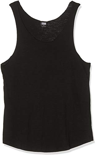 Urban Classics TB964 Herren Sport Top Long Shaped Open Edge Loose Tank,, Einfarbig, Gr. Large, Schwarz (Black 7)
