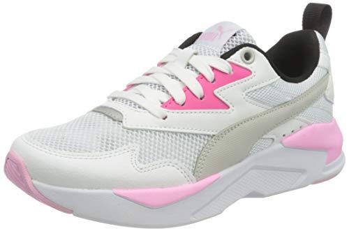 PUMA X-Ray Lite Jr, Sneaker, Bianco White-Gray Violet-Glowing Pink Black Silver, 37 EU