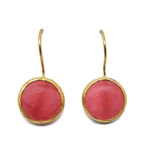 MYSTIC JEWELS by Dalia - Pendientes Largos Redondos con Piedra Natural Mujer Fiestas Boda, Varios Colores (Rosa)