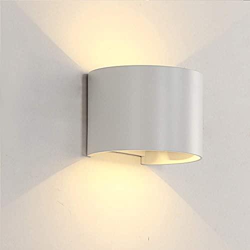 HIGHKAS Lámpara de Pared con Sensor de Movimiento LED Interior Moderno 12W Arriba Abajo Ángulo de luz Ajustable Luz de Lavado de Pared Exterior IP65 Impermeable Aplique de Aluminio Luces Redondas pa