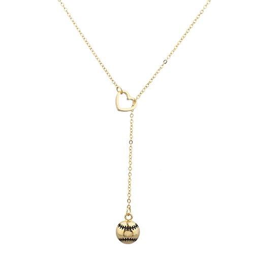 LUX Goldene Accessoires Baseball Sport Herz Sexy - und Form Halskette Lariat