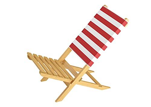 Erst-Holz Klappstuhl Strandstuhl Anglerstuhl Gartenstuhl Stuhl zum Zusammenstecken in rot-weiß 10-353