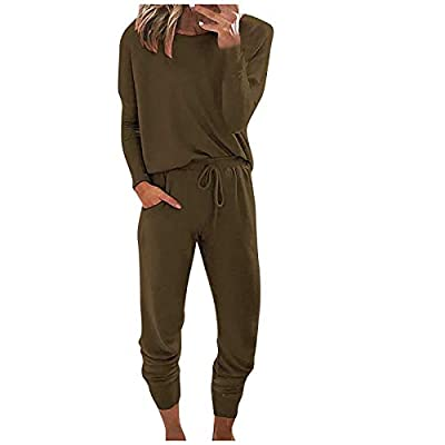Amazon - Save 80%: Women's Solid Two Piece Outfit Long Sleeve Crewneck Pullover Tops a…