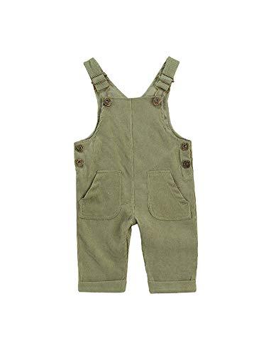 Carolilly Baby Jungen Latzhose Kord Overall Einfarbig Jumpsuit Strampler Retro Hose mit Hosenträger Trägerhose mit Knöpfen (Grün, 6-12 Monate)