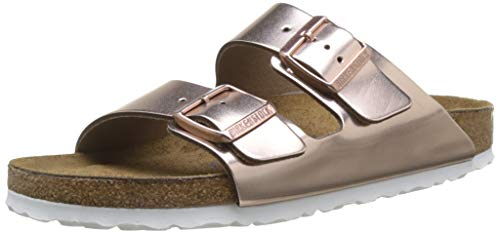 BIRKENSTOCK Damen Arizona Leder Softfootbed Pantoletten, Braun (Metallic Copper), 42 EU