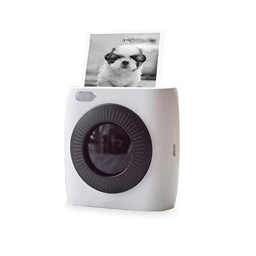 KJRJBQ Imprimante photo et étiquette couleur compacte et polyvalente avec Bluetooth blanc 83 x 83 x 45mm