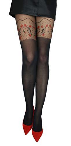 Marilyn modische Strumpfhose in Straps-Look, 20 Denier, Größe 40/42 (M/L), Farbe Schwarz (black & red)