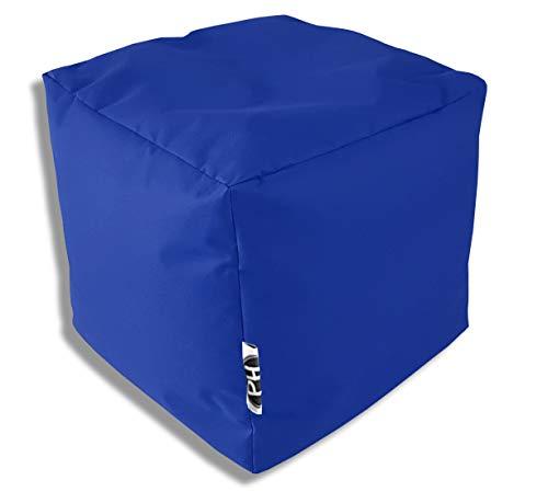 Patchhome Würfel Kissen Sitzhocker Sitzsack Sessel Sitzkissen In & Outdoor geeignet fertig befüllt   Blau - 45cm x 45cm x 45cm - in 3 Größen und 25 Farben