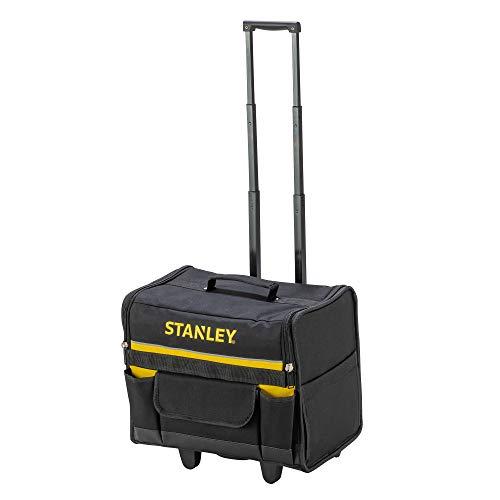 Stanley Werkzeugkoffer (mit Rollen, 44,5 x 25,5 x 42 cm, wasserfester Kunststoffboden, Trolley aus strapazierfähigem und robustem 600 x 600 Denier Nylon, viele Verstaumöglichkeiten) 1-97-515