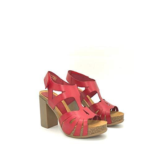 YOKONO - Sandalia con Plataforma Y Tacon DE Piel Color: Rojo