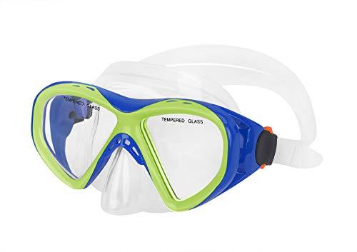 Clobeau Kids Swim Goggles Girls Boys Swimming Goggles Waterproof Dive Mask Anti Fog UV Protection Shatterproof No Leaking Swim Glasses Child Swimming Mask for Snorkeling Swimming Diving (Blue-Black)