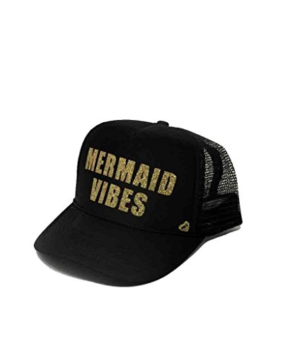 Mother Trucker Women's Mermaid Vibes Black and Gold Hat