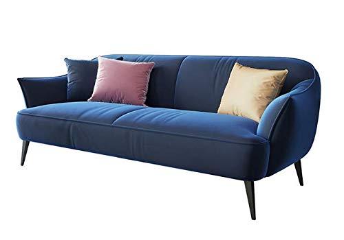 XINTONGSPP Samt-Gewebe-Sofa, Retro Rund Boden Velvet Sofa, Wohnzimmer Lounge Sofa, Geeignet für Hof/Lounge/Balkon Lounge Sofa, Blau