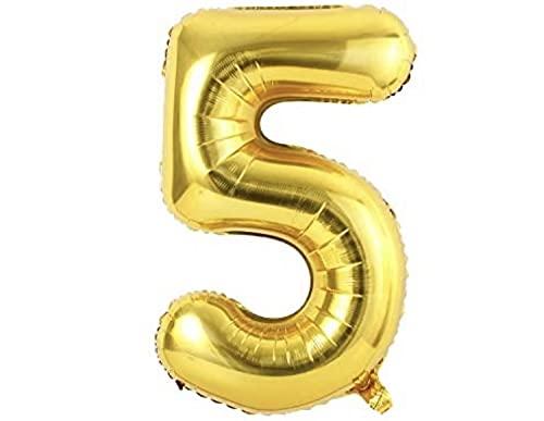 Globo Numero 5 Dorado - Globos Gigantes de Números para Cumpleaños 0 1 2 3 4 5 6 7 8 9 - Numeros Gigantes para Fiestas, Cumpleaños, Aniversarios, Banquetes, Graduaciones, Fin de Año