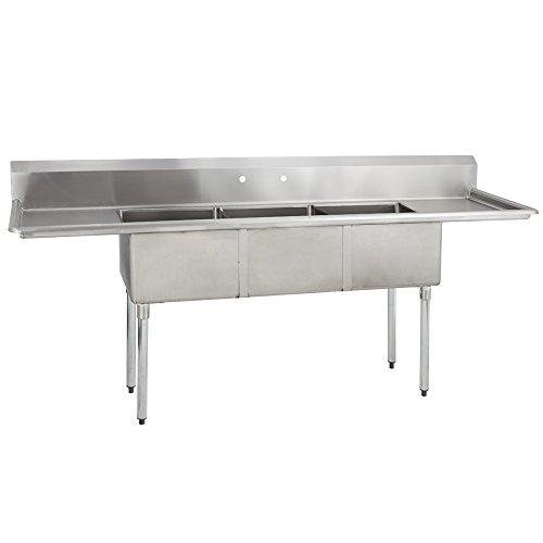 Fenix Sol 18G-3C18X24-218 Three Compartment Stainless Steel Sink, Bowl: 18'L x 24'W x 12'D, Overall...