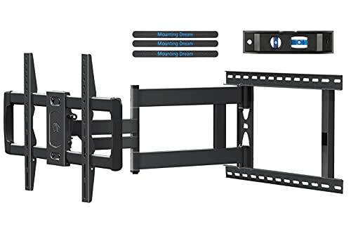 Mount Dream - Soporte de pared para TV de 37 a 75 pulgadas de hasta 100 libras, extensión larga para TV con inclinación y giro de movimiento completo con brazo de extensión Max VESA 600 × 15.748in, se adapta a pernos de madera de 16 – 24 pulgadas