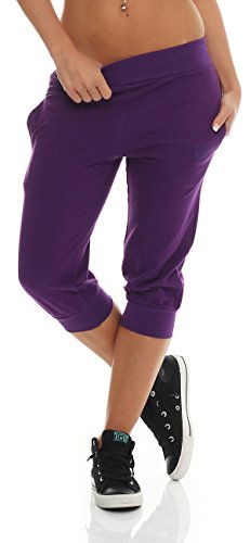 Gennadi Hoppe Damen 3/4 Trainingshose Sporthose Kurze Hose Sport Fitness Jogginghose Shorts Barmuda, lila,4XL