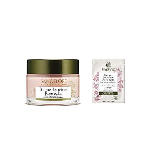 Sanoflore Crème Anti-Âge Éclat Visage Certifiée Bio à la Gelée Royale, Baume des Reines Rose Éclat, 50 ml, Échantillon Crème Visage Offert (1,5 ml)
