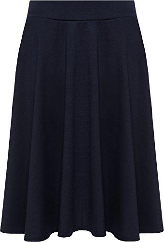 WearAll - Gonna corta da donna, taglie forti, svasata, elasticizzata, in vita svasata blu navy 54-56