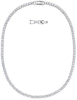 SWAROVSKI Women's Tennis Deluxe Necklace, White, Rhodium plated