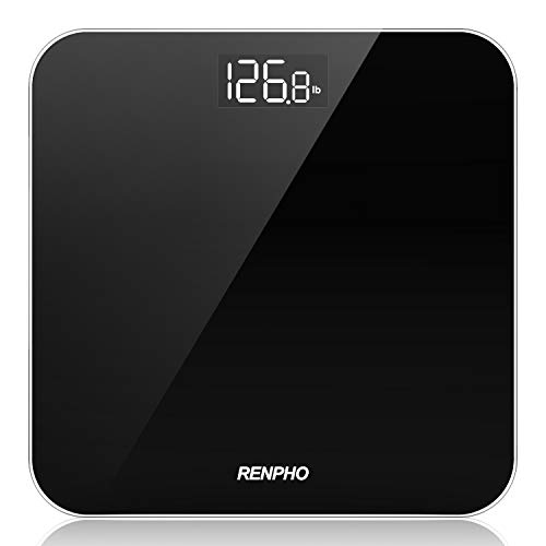 RENPHO Digital Bathroom Scale Highly Accurate Body Weight Scale with Round Corner Design Lighted LED Display 400 lb Black