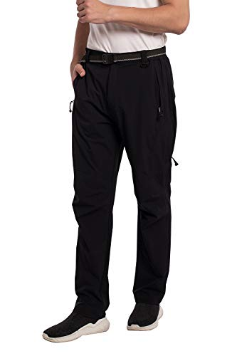 SYKROO Men's Hiking Quick Dry Lightweight Waterproof Outdoor Travel Climbing Mountain Pants with Belt Zipper Pockets (Black, XL)