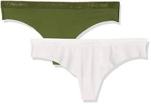 Calvin Klein Thong 2pk Tanga, Rosa (Pinky Sky/Underbrush 2kz), 46 (Talla del Fabricante: X-Large) (Pack de 2) para Mujer