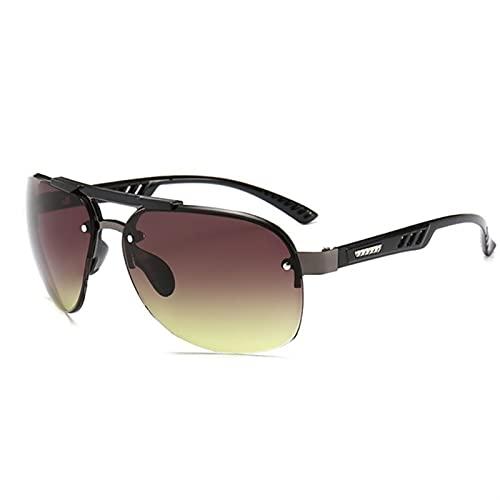 Gafas de Sol de aviación Mujeres para Hombre Diseñador Piloto Gafas de Sol para Mujer de Gafas de Sol de Espejo Masculino (Lenses Color : Green Gray)