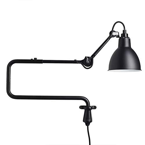 Lámpara de pared de metal negro con interruptor, lampada a muro de dormitorio de brazo largo ajustable, lámparas de lectura de lámpara de dormitorio, cable de 1,8m con enchufe E14 lámpara de noche
