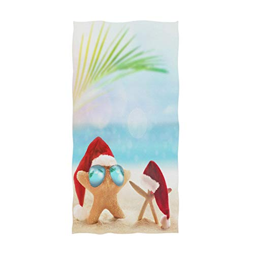 ZzWwR 3D Tropical Summer Beach Starfish in Santa Hat Christmas Soft Highly Absorbent Guest Large Home Decorative Hand Towels Multipurpose for Bathroom, Hotel, Gym and Spa (16 x 30 Inches)