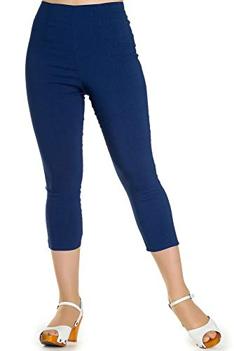 Hell Bunny Tina 50s Vintage Retro Style Capri Trousers 3/4 Length Pedal Pushers - Navy Blue (4XL)