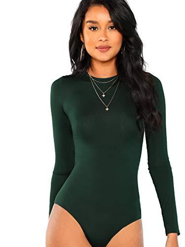 DIDK Damen Bodysuit Langarm Rückenfrei Spitze Applikation Einfarbig Schmaler Body Rundhals Sexy Bodys Grün M