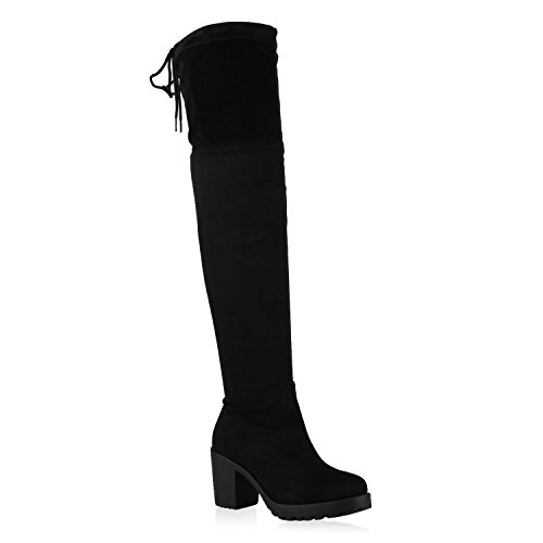 Damen Stiefel Schleifen Overknees Veloursleder-Optik Langschaftstiefel Boots Schuhe 130730 Schwarz Schwarz 41 Flandell