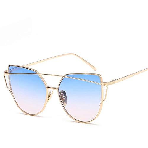 Mode uv400 gradiënt zonnebril voor dames heren vintage optische cat eye spiegel metalen klassieke eyewear bril multi