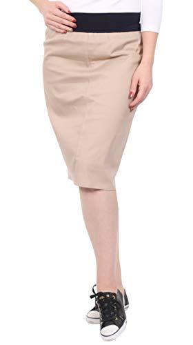 Kosher Casual Women's Modest Knee Length Lightweight Cotton Stretch Twill Pencil Skirt with Stretch Waist 22 Beige