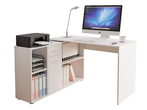 Mirjan24 Eckschreibtisch Armando mit Regal, Winkelschreibtisch, Schreibtisch, Arbeitstisch, Bürotisch, Computertisch, Kinderschreibtisch, Winkelkombination (Weiß)
